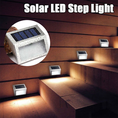 Waterproof Stainless Steel Solar 3 LED Wall Fence Floor Stairs Corner Light Stainless Steel Solar Wall