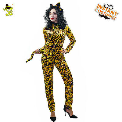 Adult Jumpsuit Catsuit Costume Role Leopard Print Backless Halloween Bodysuit  ](Leopard Print Bodysuit Halloween)