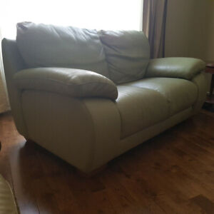 High End Olive Green 100% Buffalo Leather Couch Set PAID $6500