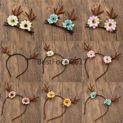 Costume Antler Deer Horn Flower Hairband Cute Hair Clip Christmas Party Women (Costume Horn)