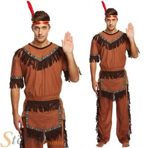 Mens Red Indian Man Native American Chief Cowboy Western Fancy Dress Costume