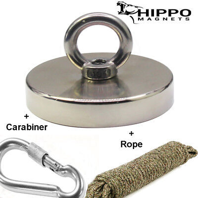 900 Lbs Pull Force Hippo Fishing Magnet Neodymium Heavy Duty Rope Carabiner