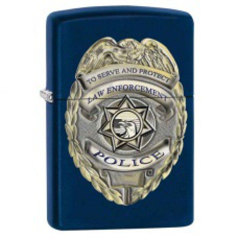 Zippo Lighter - Police Badge Navy Blue Matte - 853446