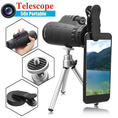 50X60 HD optisches Monokular-Teleskop-Zoomobjektiv+Stativ+Telefon Unterstützung