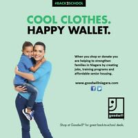 Shop for Back To School at Goodwill Niagara and Save!!!