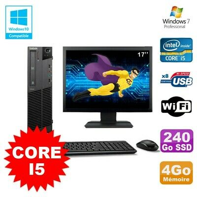 Lot PC Lenovo M91p 7005 SFF Core I5 3,1Ghz 4Go 240Go SSD WIFI W7 Pro + Ecran 17