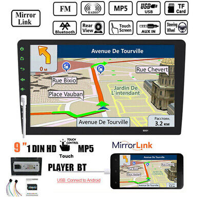 "9"" 1 Din Touch Screen Autoradio FM USB Stereo MP5 Lettore Mirror Link  Bluetooth"