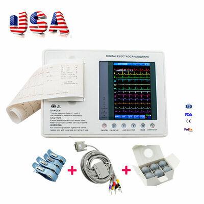 Us 7digital Ecg Ekg Machine 3 Channel 12 Lead Electrocardiograph System Fda Ce