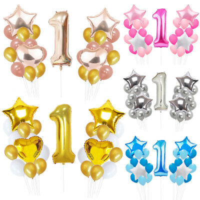 1 One Year Old Baby Infant Birthday Party Decor Supply Foil Star Balloons Set  - Birthday Supplys
