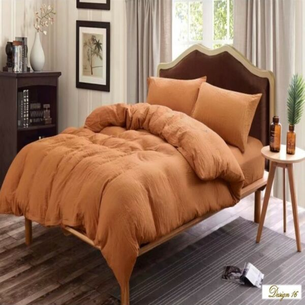 KING Bed CARAMEL COLOUR Fitted BedSheet + 2 Pillowcases Set