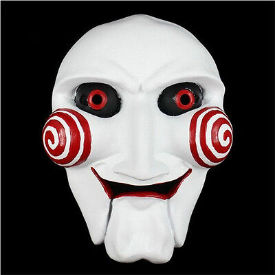 Saw Clown Costume (Saw Puppet Mask Horror Scary Halloween Cosplay Costume Clown Doll Resin)