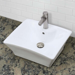 NEW - DecoLav 1430-CWH Square Vitreous Above-Counter Vessel Sink