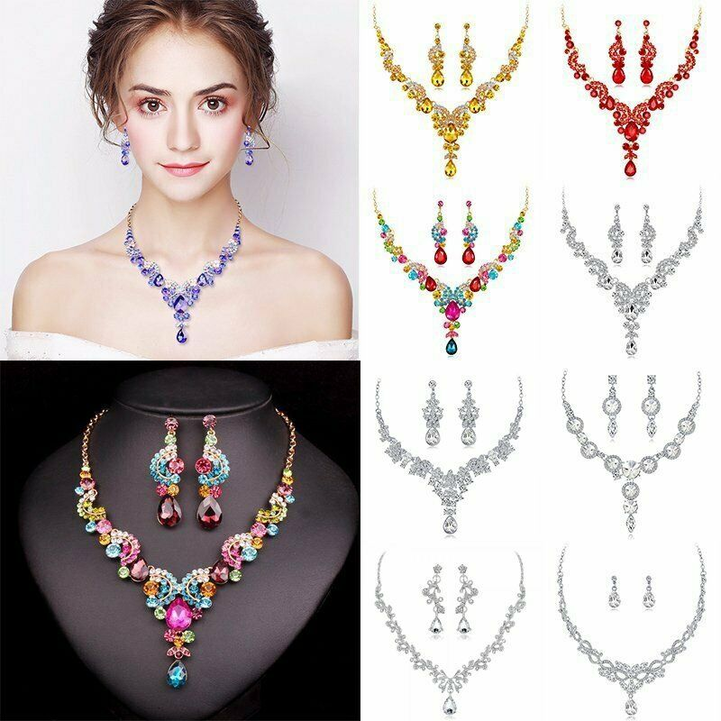 Luxury Wedding Bridal Party Crystal Rhinestone Necklace Earr