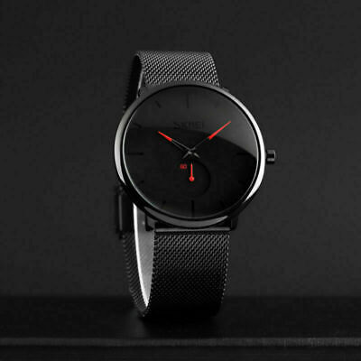 Men's Minimalist Wrist Watch Stainless Steel Mesh Quartz Analog Dress Watches US