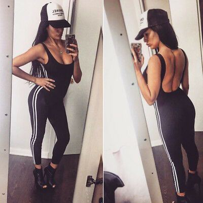 Womens Fitness Yoga Elastic Jumpsuit Clothing Sleeveless Exercise Gym Pants Suit