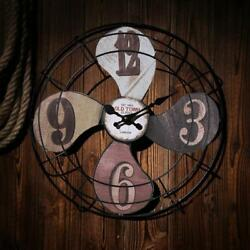 Metal Vintage Fan Wall Clock Rustic Retro Industrial Distressed Home Decor Watch