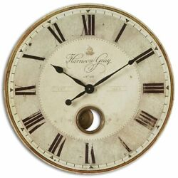 Uttermost Harrison Gray 30 Round Wall Clock in Black and Ivory