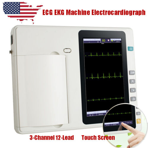 Color Display Digital 3-Channel 12-Lead Electrocardiograph ECG/EKG Machine FDA