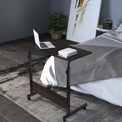 Height Adjustable Laptop Stand Rolling Sofa Side Table High Gloss Dark Walnut