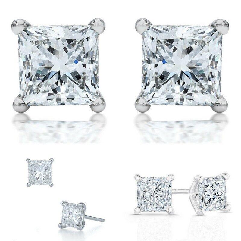 2 Ct  Vs1/d  Enhanced Diamond Stud Bridal Earrings, Princess Cut, 18k White Gold