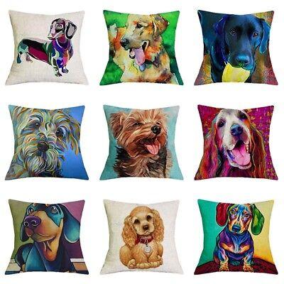 Oil Printed Dog Schnauzer Linen Pillow Case Dachshund Cushion Cover Home Decor (Schnauzer Pillow)
