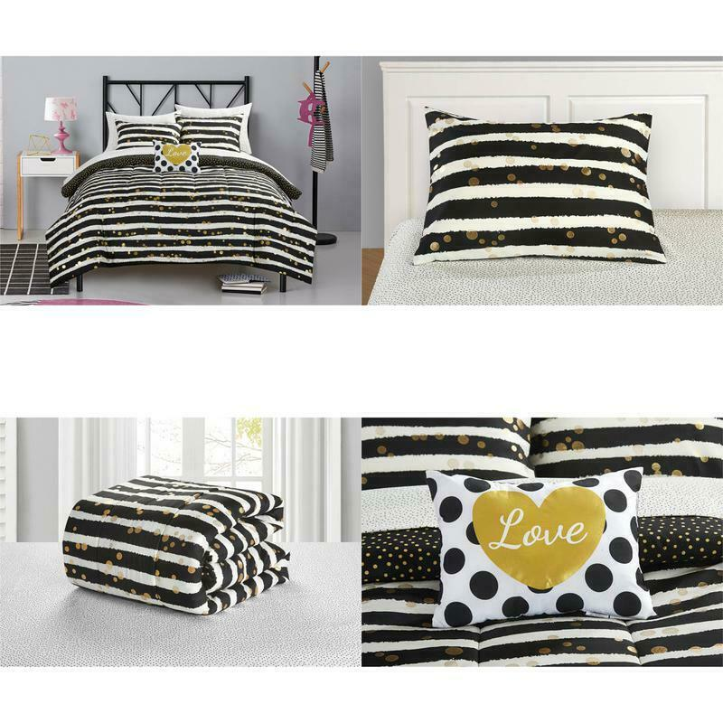 Latitude Gold Glitter Stripe and Polka Dot Bed in a Bag Bedd