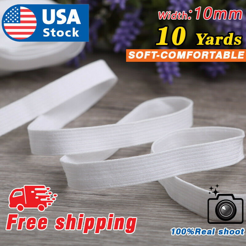 USA 10 Yards Elastic Band 3/8″ 10mm Width Sewing Trim String DIY White Braided Crafts