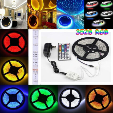 RGB LED Strip Light Package 5M 300 LEDs 3528 SMD+Re+Adapter