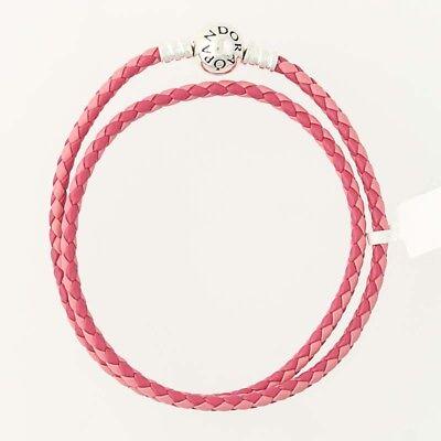 "NEW Authentic Pandora Pink Double-Leather Bracelet- Sterling 590747CPMX-D1 13.8"""