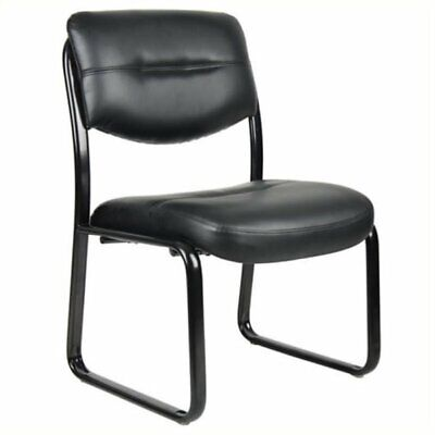 Pemberly Row Leather Upholstered Guest Chair In Black