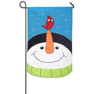 "SNOW WONDER PALS SNOWMAN CARDINAL WINTER APPLIQUE YARD GARDEN FLAG 12.5"" X 18"""