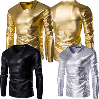 Mens Metallic Shiny Wet Look Long Sleeve T-shirt Top Slim Fit V Neck M-3XL P2-13 (Wet Shirt)