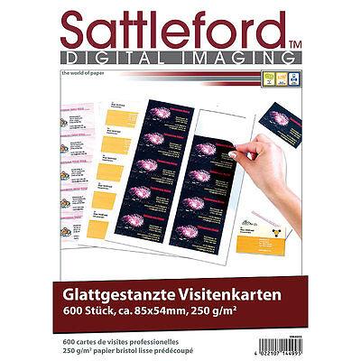 Visitenkarte für Drucker: 600 Business-Visitenkarten mit glatten Kanten, 250g/m²