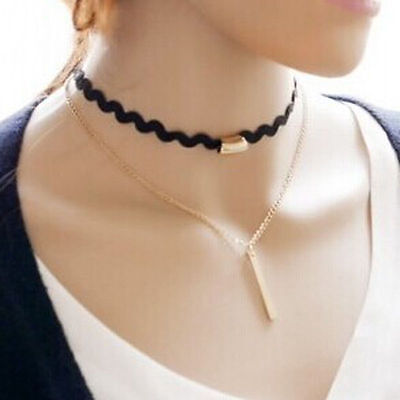 Fashion Women Pendant Gold Chain Choker Chunky Statement Bib Necklace Jewelry
