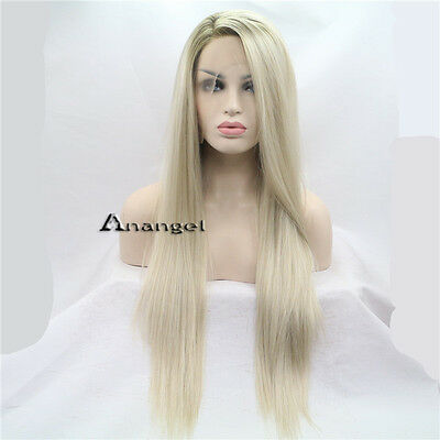 Anogol Platinum Blonde Lace Front Wig Straight Long Synthetic Hair Layered Wigs (Platinum Blond Wig)