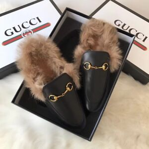 Gucci Princetown leather slippers, sz 6 in black