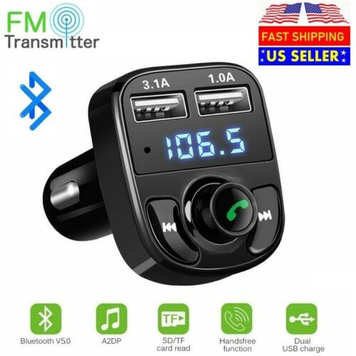 Wireless In Car Bluetooth FM Transmitter MP3 Radio Adapter Car 2 USB Charger