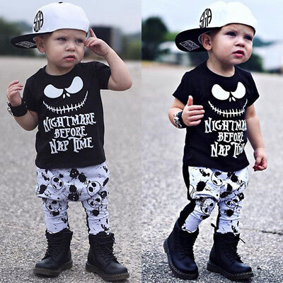 USA Canis Newborn Kids Baby Boys Skull Halloween Cotton T-shirt Pants Outfit Set - Newborn Halloween Outfit