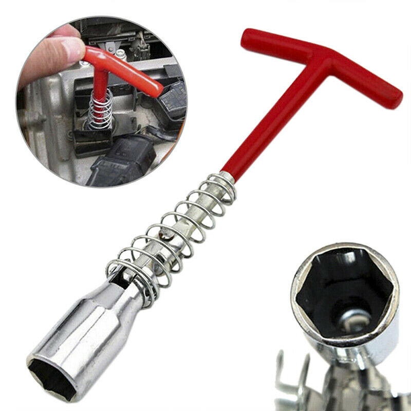 Spark Plug Removal Tool 16mm T-Bar T-Handle Flexible Spanner Socket Wrench 4-16E