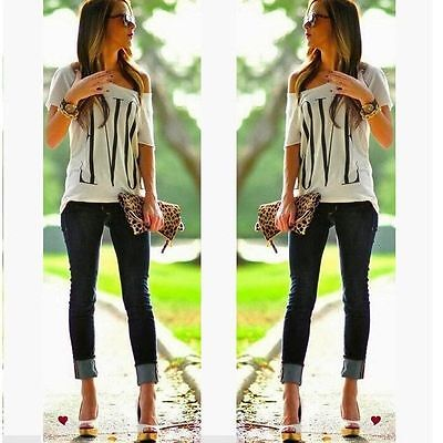 Women Summer Sexy Casual Tops Loose Short Sleeve T-Shirt New Fashion Love Blouse