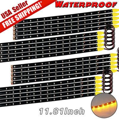 20x Amber Yellow 30CM 15 LED Car Motor Truck Flexible Strip Light Waterproof (Motor Light Truck)