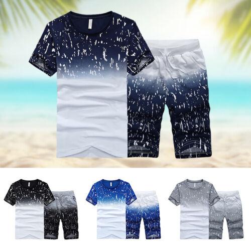 2pcs/set Men Tracksuit Short Sleeve T-shirt & Shorts Jogging