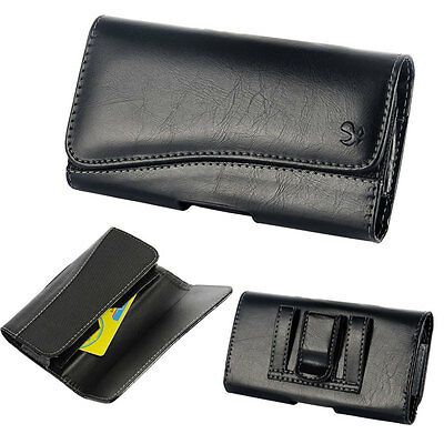 BLK Leather Pouch Wallet Case Holster Fits iPhone SE 5S 5 with Otterbox Defender