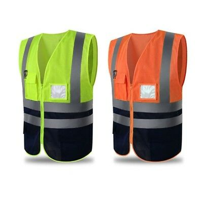 Reflective Safety Zip Vest High Vis Jacket Waistcoat With Pockets Blue Mesh Lxl