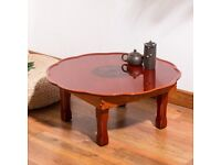 Folding Korean Table Round For Coffee Tea Dining Living Room Furniture Wooden Tea Round Table