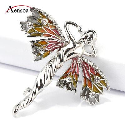 Fashion Women Enamel Crystal Dragonfly Fairy Elf Angel Brooch Pins Accessories - Women Elves