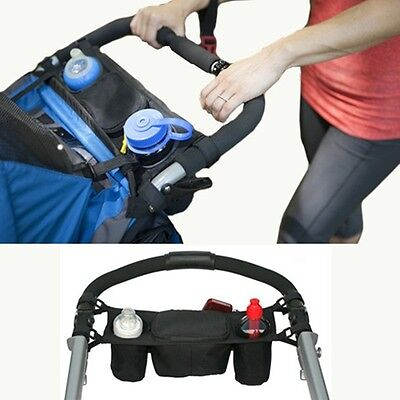 HOT Infant Baby Stroller Console Organizer Double Cup Holder