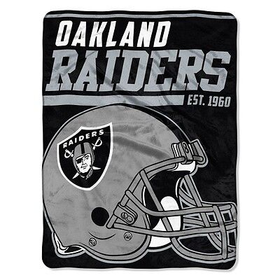 New Nfl Oakland Raiders Soft Micro Rasche Large Throw Blanket 46  X 60