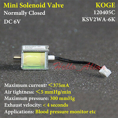 Dc6v 2-way Mini Electric Solenoid Valve Normally Closed For Air Gas Valve Ksv2wa