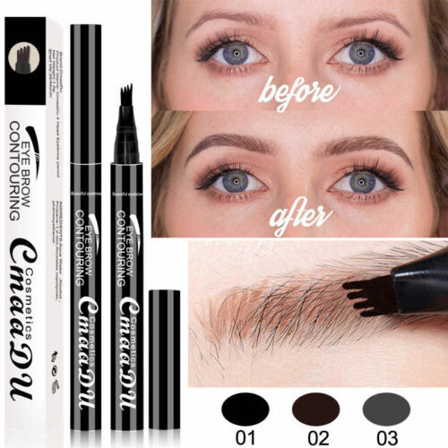 Microblading Tattoo Eyebrow Ink Pen Eye Brow 4 Fork Pencil Brow Enhancer Stencil